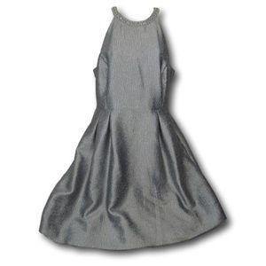 J.Lo Silver Pearl Necklace Halter Dress 10